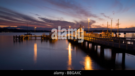 Pier at Russell Bay Of Islands North Island New Zealand - Stock Photo