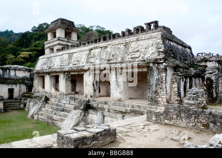 Palace Temple, Mayan temple near Palenque, Chiapas, Mexico, Central America - Stock Photo