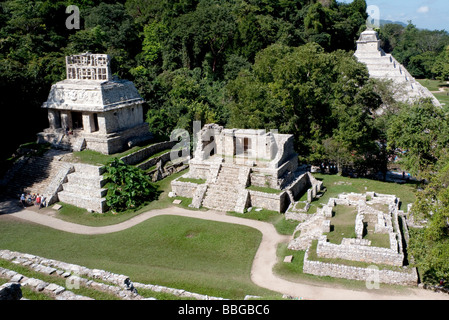 Temple of the Inscriptions and the Temple of the Sun, Mayan temple near Palenque, Chiapas, Mexico, Central America - Stock Photo