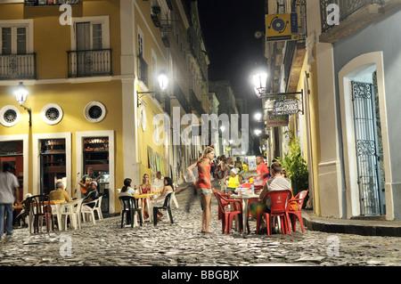 Street scene in the historic city at night, nightlife, Salvador, Bahia, UNESCO World Heritage Site, Brazil, South - Stock Photo