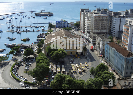 View of the lower city Cidade Baixa with Mercado Modello market hall and the defensive fortification Forte Sao Marcelo, - Stock Photo