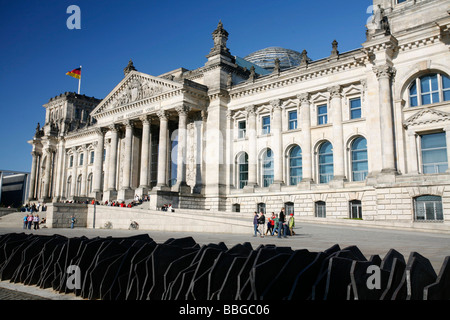 Reichstag parliament building and memorial to the 96 Members of Parliament murdered during the Third Empire, seen - Stock Photo