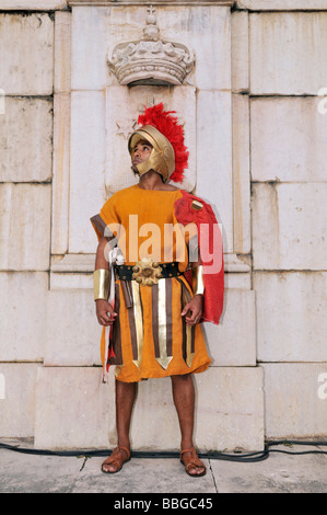 Roman soldier during an outdoor performance on Good Friday, Salvador, Bahia, Brazil, South America - Stock Photo
