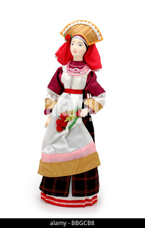 Russian Doll (Spring) in National traditional costume dress - Stock Photo