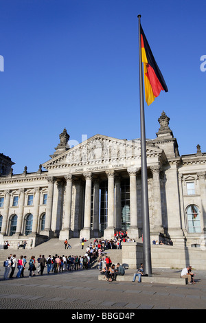 Flag at the Reichstag parliament building in Berlin, Germany, Europe - Stock Photo