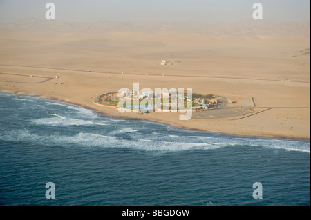 Settlement on the coast, near Walvis Bay, aerial picture, Namibia, Africa - Stock Photo