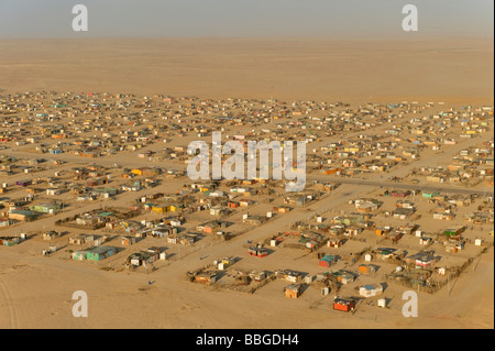 Slum on the outskirts of Swakopmund, aerial picture, Namibia, Africa - Stock Photo
