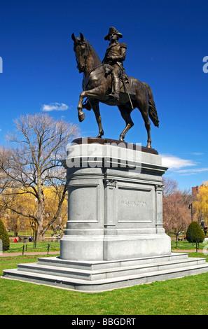 George Washington equestrian statue in the municipal park of Boston, Massachusetts, USA - Stock Photo