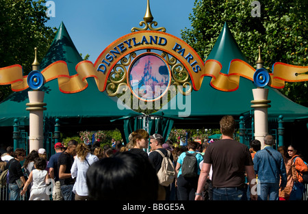 Paris France, Theme Parks, People Visiting 'Disneyland Paris' Entrance - Stock Photo