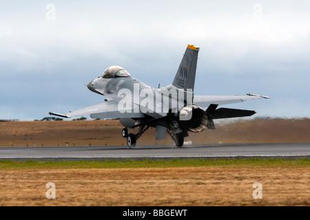 F 16 Fighting Falcon Landing - Stock Photo