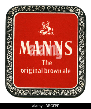 Old beermat for Manns Original Brown Ale, London - Stock Photo