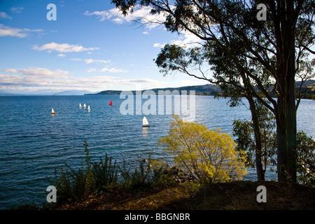 Lake Taupo from Taupo North Island New Zealand - Stock Photo