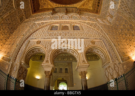 Hall of Ambassadors in the Mudejar Palace of Los Reales Alcazares Seville Andalusia Spain - Stock Photo