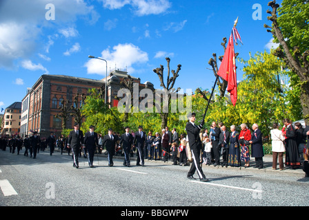 National day celebrations in the beautiful town Bergen, Norway's second biggest city. (May 17th) - Stock Photo
