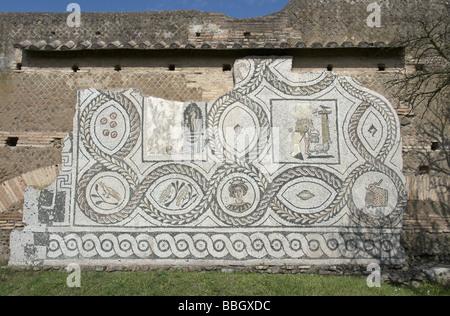 Rome, Italy. A mosaic in Ostia Antica. - Stock Photo