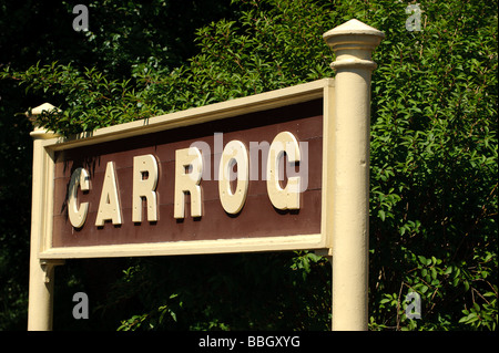 Carrog railway station sign on the Llangollen Steam Railway line - Stock Photo