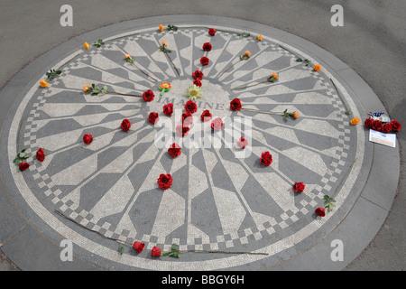 John Lennon memorial in Central Park New York city NY USA