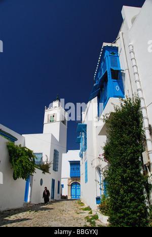 TUNIS, TUNISIA. Whitewashed buildings, etc, in the village of Sidi bou Said outside Tunis. 2009. - Stock Photo