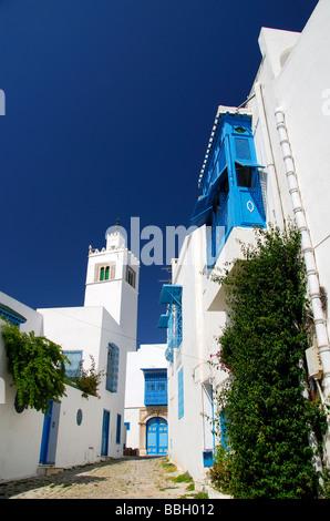 TUNIS, TUNISIA. Whitewashed buildings, etc, in the village of Sidi bou Said outside Tunis. 2009 - Stock Photo