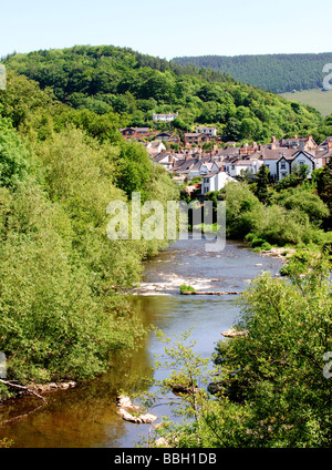 Elevated view from a bridge over the River Dee in Llangollen - Stock Photo