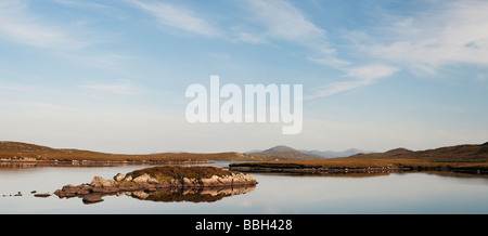 Evening light on a loch, Isle of Lewis, Outer Hebrides, Scotland. Panoramic - Stock Photo