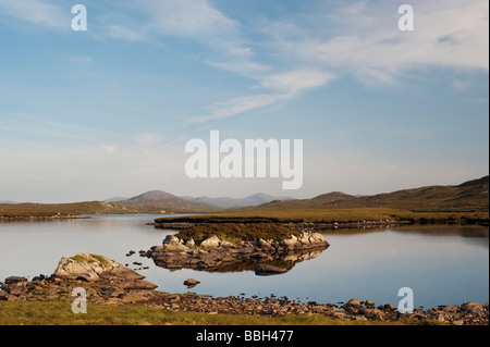 Evening light on a loch, Isle of Lewis, Outer Hebrides, Scotland - Stock Photo