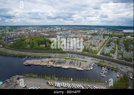Aerial view of town from Nasinneula Observation Tower Tampere Finland - Stock Photo