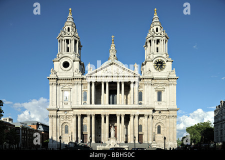 West facade of St Pauls Cathedral City of London England UK one of the largest in the world in early evening light - Stock Photo