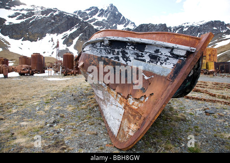 Boat in Old Whaling Town of Grytviken, South Georgia Island, Antarctica - Stock Photo