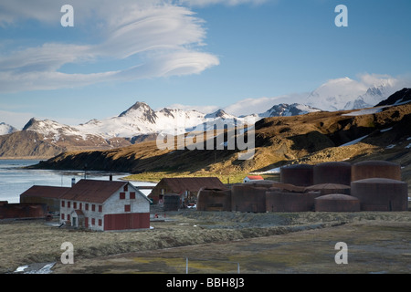 Old Whaling Town of Grytviken on South Georgia Island, Antarctica - Stock Photo