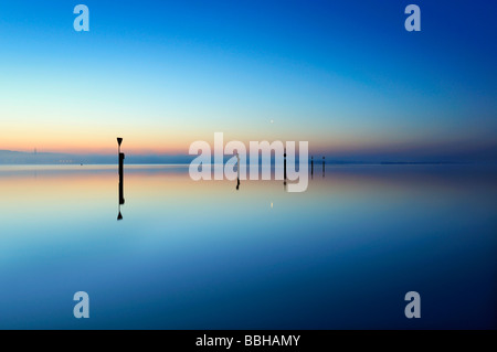 Morning mood on the lakeside of Lake Constance, near Moos, county of Constance, Baden-Wuerttemberg, Germany, Europe - Stock Photo