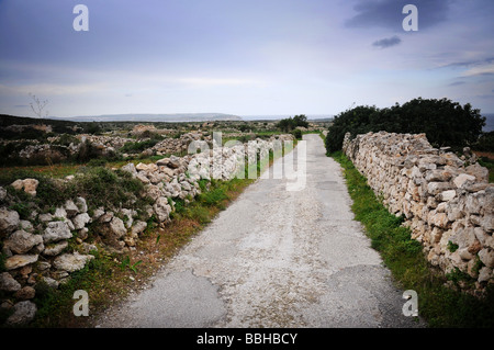 Stone wall lining a narrow country road - Stock Photo