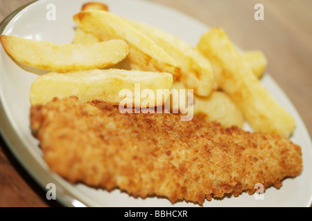 Breaded Haddock with Chips - Stock Photo