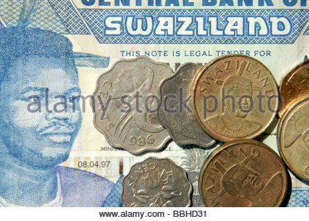 Swaziland money 10 Emalangeni note depicting King Mswati III and coins of various denominations - Stock Photo