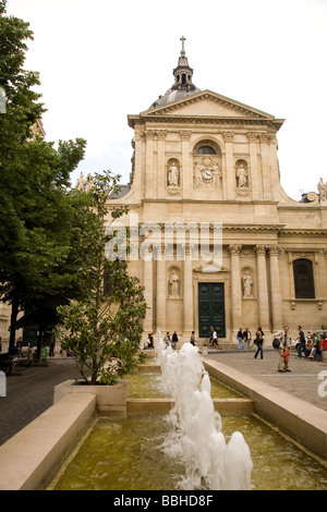 The historic university the Sorbonne is part of the Left Bank area of Paris France - Stock Photo