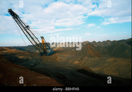 A giant open cast mining excavator in a coal mine on the East Rand Mpumalanga province South Africa - Stock Photo