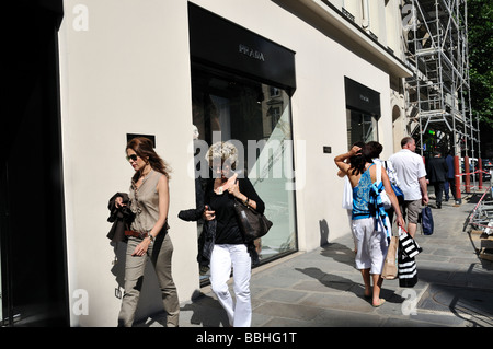 Paris France, Luxury Clothes, Shopping, 'Street Scene' Pedestrians Women Walking Outside Prada Store - Stock Photo