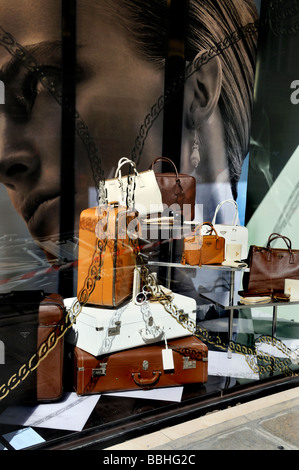 Paris France, Luxury Accessories, Shopping, Shop Front Window Display, Outside Prada Store, Boutique - Stock Photo