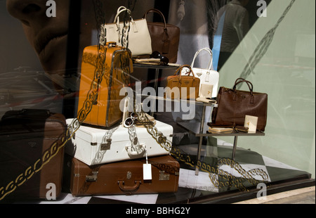 Paris France, Luxury Clothes, Shopping, Shop Front Window, Display, Outside Prada Store, Boutique - Stock Photo
