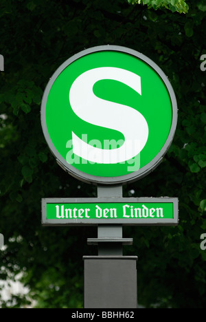 Berlin Germany S Bahn sign Unter den Linden - Stock Photo