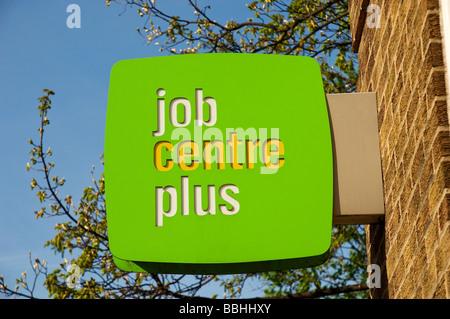 Job Centre Plus sign on wall England UK United Kingdom GB Great Britain - Stock Photo