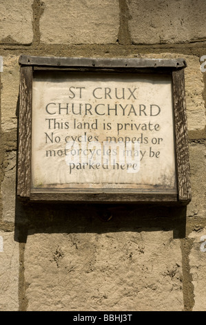 Close up of old sign in St Crux churchyard York North Yorkshire England UK United Kingdom GB Great Britain - Stock Photo