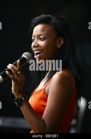 Entertaining over 25 000 local and international jazz lovers and fans is newcomer Zanelle Zee Mtembu performs at - Stock Photo