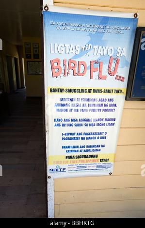 Bird Flu awareness sign on Olango Island Wlidlife Sanctuary Lapu Lapu Cebu Philippines - Stock Photo