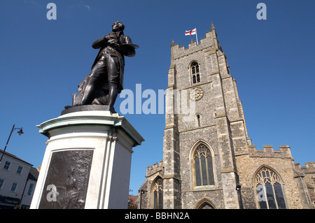 Great Britain England Suffolk Sudbury Thomas Gainsborough Statue St Peter s Church on Market Hill - Stock Photo