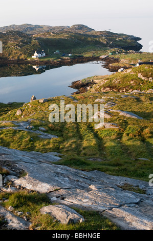 Still ocean loch reflections, Isle of Harris , Outer Hebrides, Scotland - Stock Photo