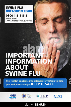 'Swine flu' leaflet - Stock Photo