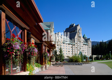 Whistler Blackcomb Resort, BC, British Columbia, Canada - Restaurant and Fairmont Chateau Whistler, Summer - Stock Photo
