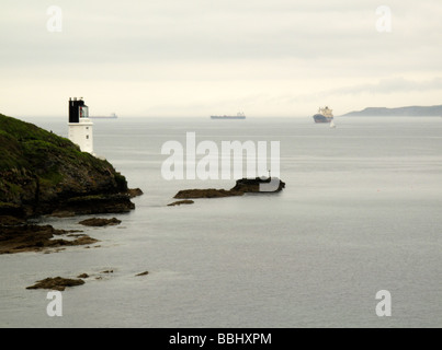 lighthouse sea and ships - Stock Photo
