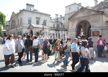 Tourists - Horse Guards Parade - Whitehall - London - Stock Photo